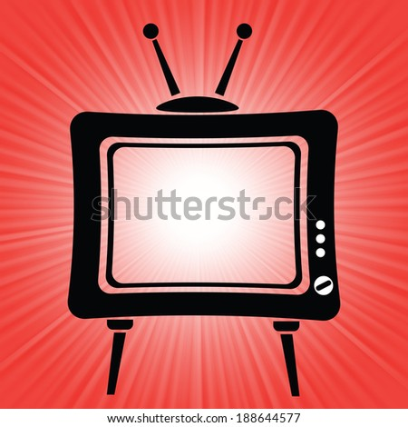 colorful illustration with old tv icon on a red background for your design - stock photo
