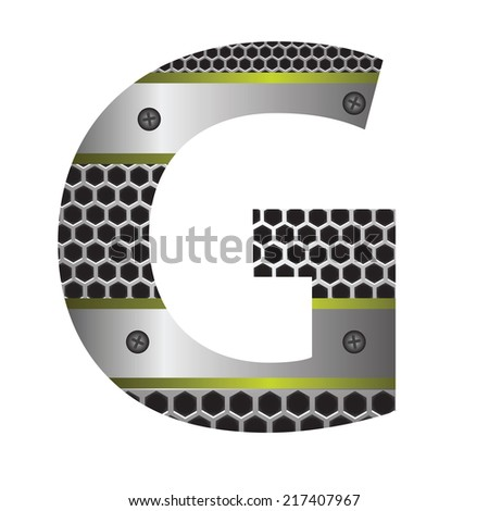 colorful illustration with perforated metal letter G  on a white background - stock photo