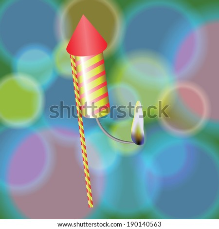 colorful illustration with  petard  on a blurred background for your design - stock photo