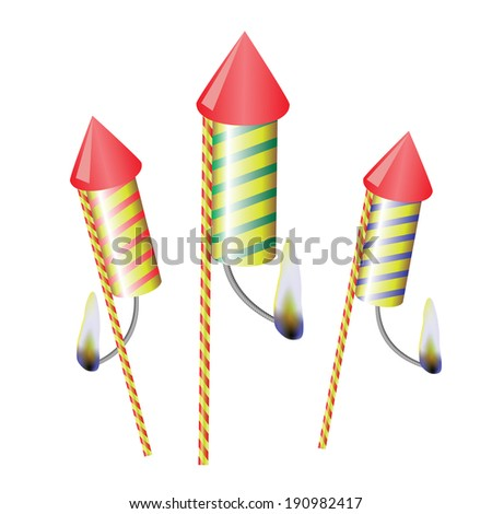 colorful illustration with petards on a white  background for your design - stock photo
