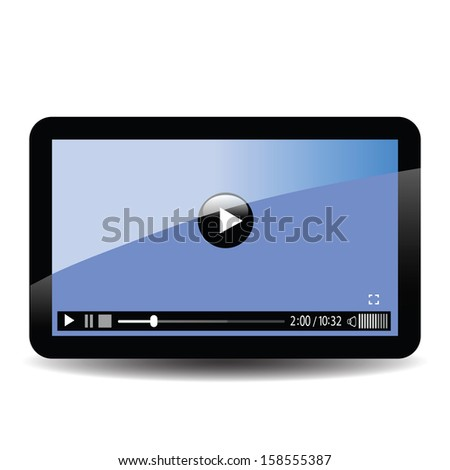 colorful illustration with tablet computer for your design - stock photo