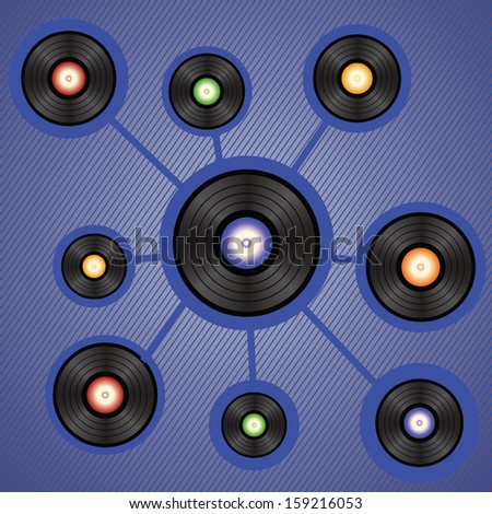 colorful illustration with vinyl records for your design - stock photo