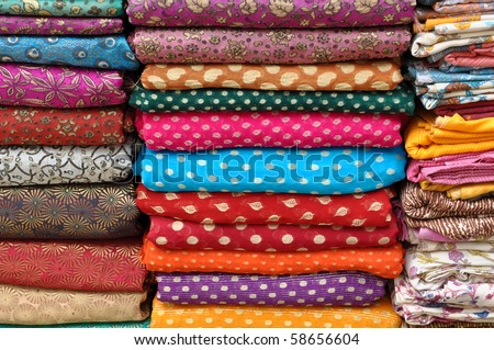 Colorful Indian Asian Sari Fabric - stock photo