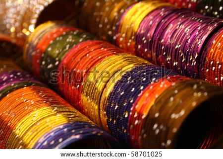 Colorful indian bangles with shallow depth of field. - stock photo