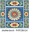 Colorful Indian temple ceiling mural decoration. - stock photo