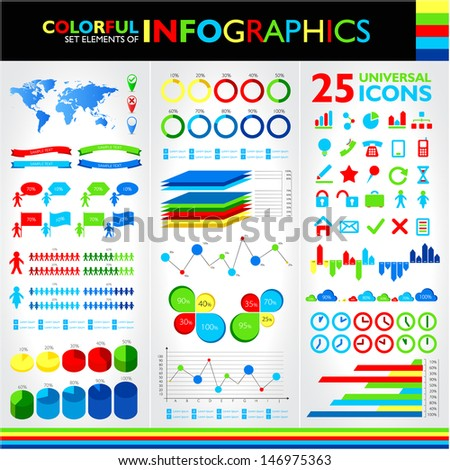 Colorful infographics set and universal icons. Raster version. Vector version available in my portfolio. - stock photo