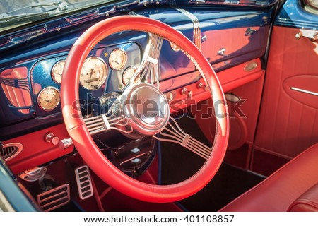 colorful interior detail of a 1950s restoration automobile - stock photo