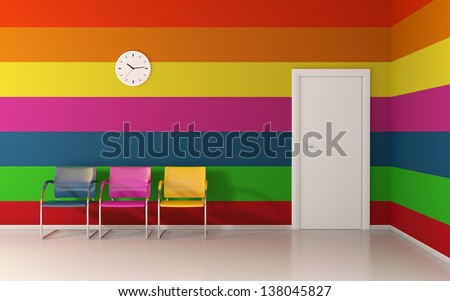 Colorful interior - horizontal colored lines on wall - stock photo
