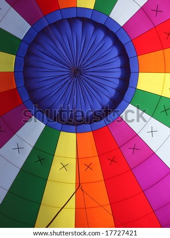 Colorful interior of a hot air balloon - stock photo