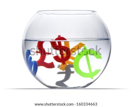 Colorful international economy icons in aquarium on a white background - stock photo