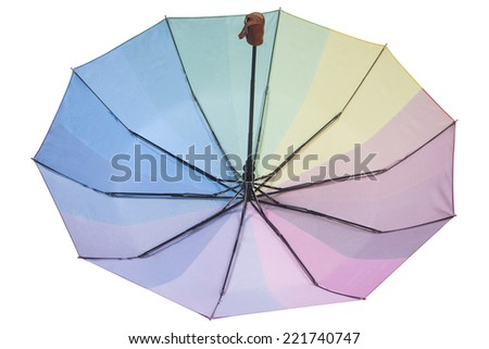 Colorful inverted umbrella, isolated on white background. - stock photo