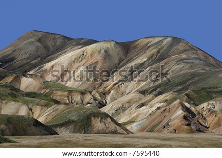 colorful islandic mountain site - stock photo