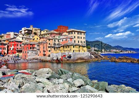 Colorful Italy series - Genova, Liguria - stock photo