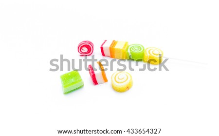 Colorful jelly candy on white background  - stock photo