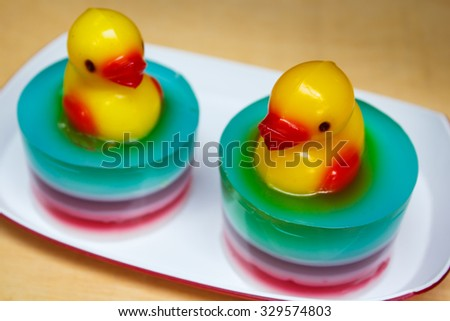 Colorful jelly, This dessert made by juice and gelatin. - stock photo