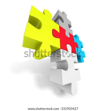 Colorful Jigsaw Puzzle Concept Icon. 3d Render Illustration - stock photo