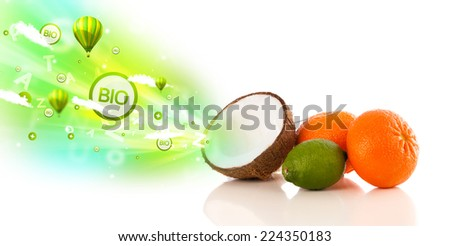 Colorful juicy fruits with green eco signs and icons on white background - stock photo