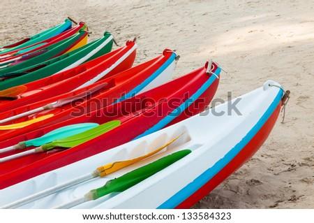 Colorful kayaks on the tropical beach, Thailand - stock photo