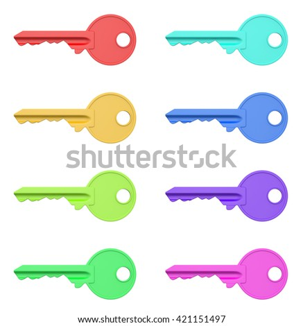 Colorful Keys Series Isolated on White Background 3D Illustration - stock photo