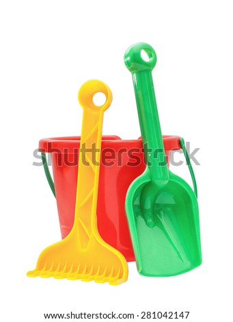 Colorful kids garden tools, toy - stock photo