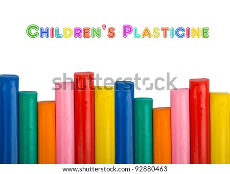 Colorful kids plasticine on white background - stock photo