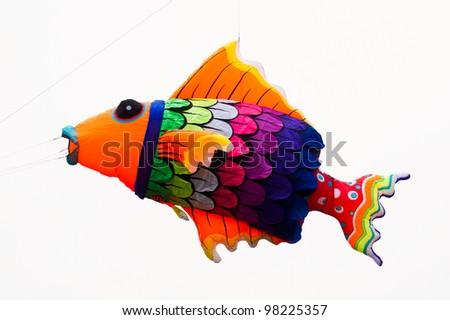 Colorful kites on white background. - stock photo