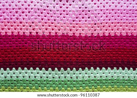Colorful knit woolen texture - stock photo