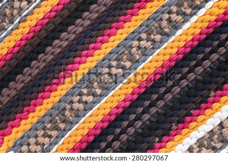 Colorful knitted cloth reuse Closeup of crochet rag rug  for background. - stock photo