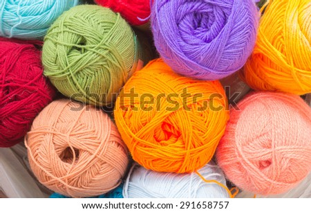 Colorful knitting wools - stock photo
