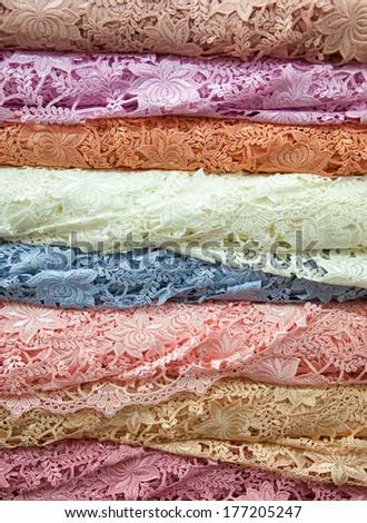 Colorful Lace Fabric - stock photo