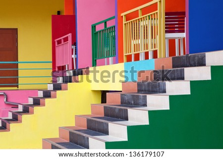 Colorful ladder. - stock photo