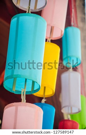 Colorful lamp at the temple. - stock photo