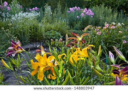 Colorful landscape formal garden. Beautiful Garden. - stock photo