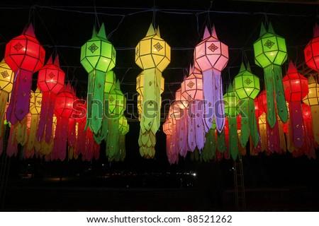 colorful  Lanna lantern festival decoration  ,  Chiang Mai ,Thailand - stock photo