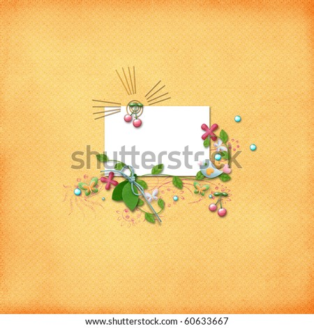 Colorful layout with photo frame - stock photo