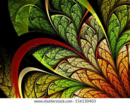 Colorful leafy fractal plant, digital artwork for creative graphic design - stock photo