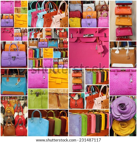 colorful leather handbags collage - stock photo