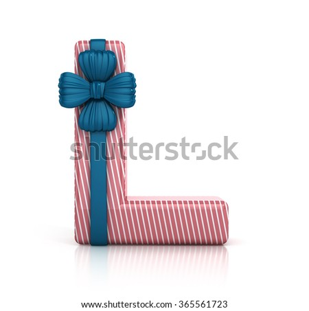 Colorful Letter L decorated with Ribbon isolated on white background. 3d render illustration - stock photo