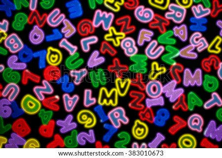 Colorful letters and numbers with zoom effect  - stock photo