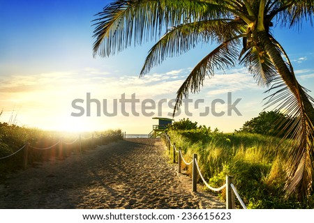 Colorful Lifeguard Tower in South Beach, Miami Beach, Florida, USA  - stock photo