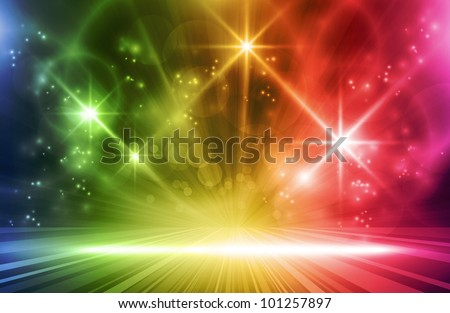 Colorful light show. Multicolored light effects background for any magical event full of energy. Space for you message. Vector version available. - stock photo