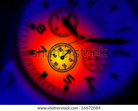 Colorful lighting effect applied to dial of wrist watch - stock photo