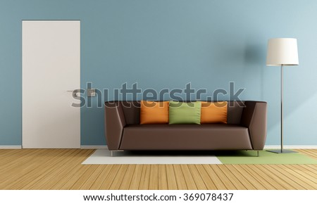 Colorful living room with modern couch and closed door - 3D Rendering - stock photo