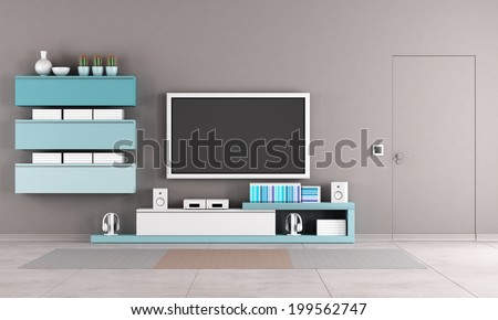 Colorful living room with tv stand,cabinet and close door - stock photo