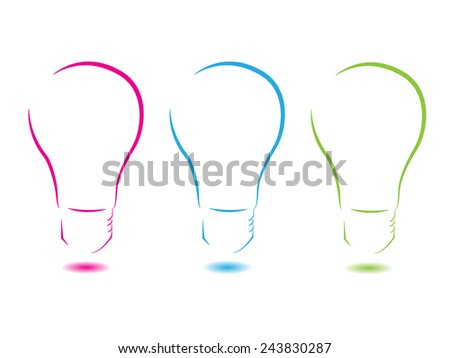 Colorful logo consisting of three abstract lightbulbs separated on white background - stock photo