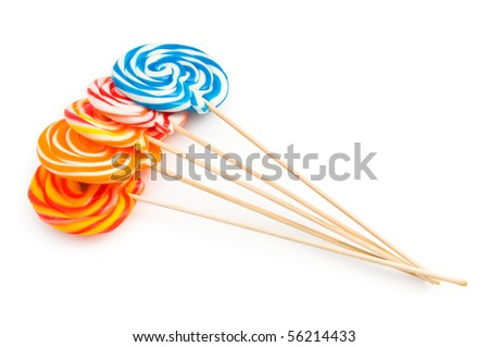 Colorful lollipop isolated on the white background - stock photo