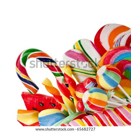 colorful lollipop isolated on white - stock photo
