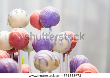 Colorful lollipops on white background /  Home made lollipops - stock photo
