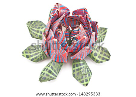 Colorful lotus origami isolated on  white - stock photo