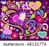 Colorful love doodle. For vector see my portfolio, image no. 44864464 . - stock photo
